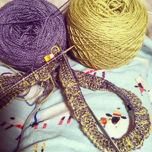 Knitting in bed in my sheepy PJs with awesome yarn & listening to rain = win