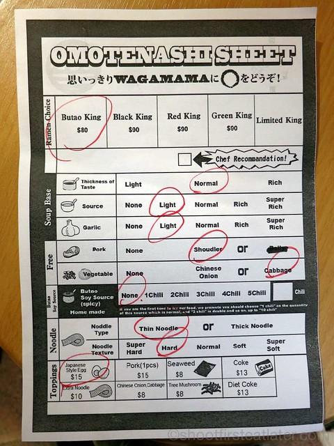 Butao Ramen, Tsim Sha Tsui- menu  order sheet