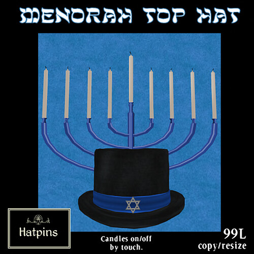 Hatpins - Menorah Top Hat - Black and Blue (copy_mod)