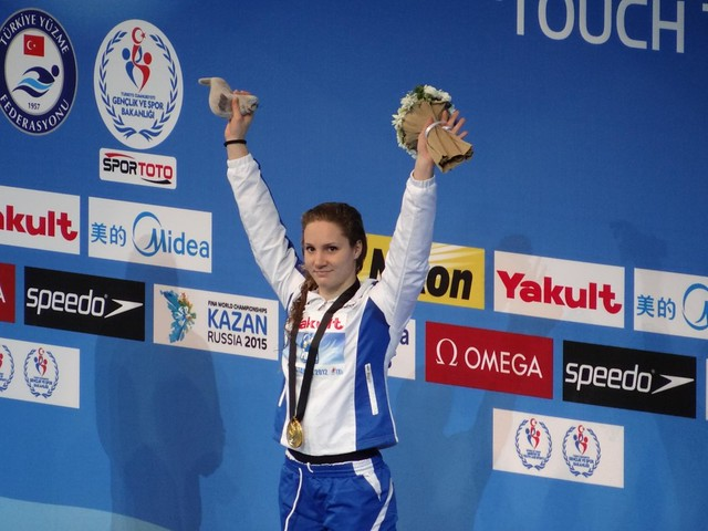 Ilaria Bianchi on top of the Istanbul 2012 medal podium