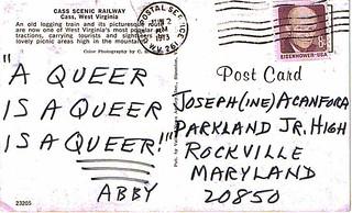 Acanfora Hate Mail: 1973