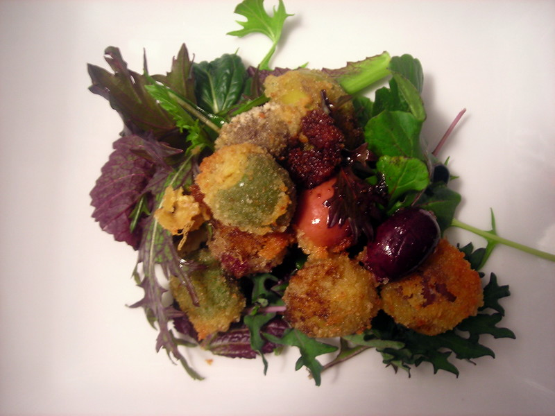 Fried olives, baby mesclun