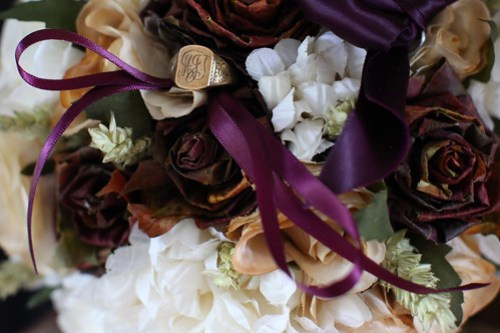 Moody Marriage - Rustic Autumn Leaf flowers, with fathers signet ring