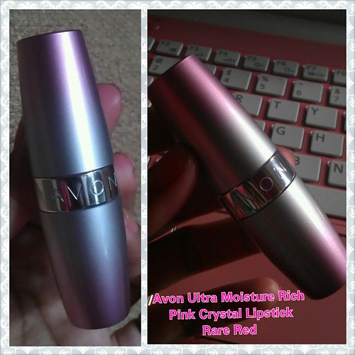 Avon Ultra Moisture Rich Pink Crystal Lipstick Rare Red