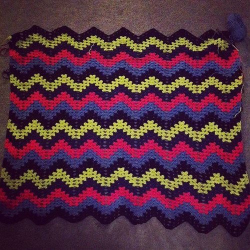 It is growing! #crochet #blanket #pink #blue #black #green