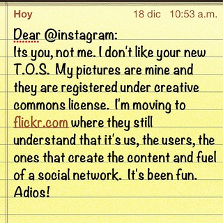 Dear @instagram: it's been fun, but will be no more. It is you, not me.