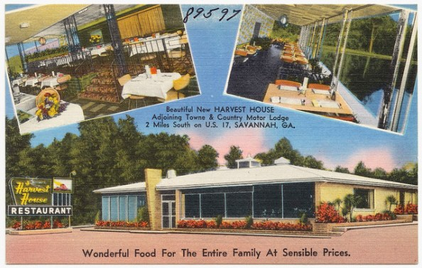 Beautiful new Harvest House, adjoining Towne & Country Motor Lodge, 2 miles south on U. S. 17, Savannah, Ga., wonderful food for the entire family at sensible prices.