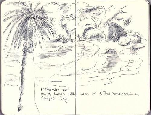 Pen & wash sketch at Camps Bay