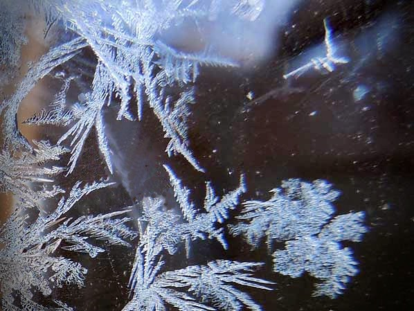 Frost on the window and outer space