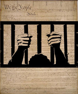 Rights Detained/Man behind bars superimposed over Constitution
