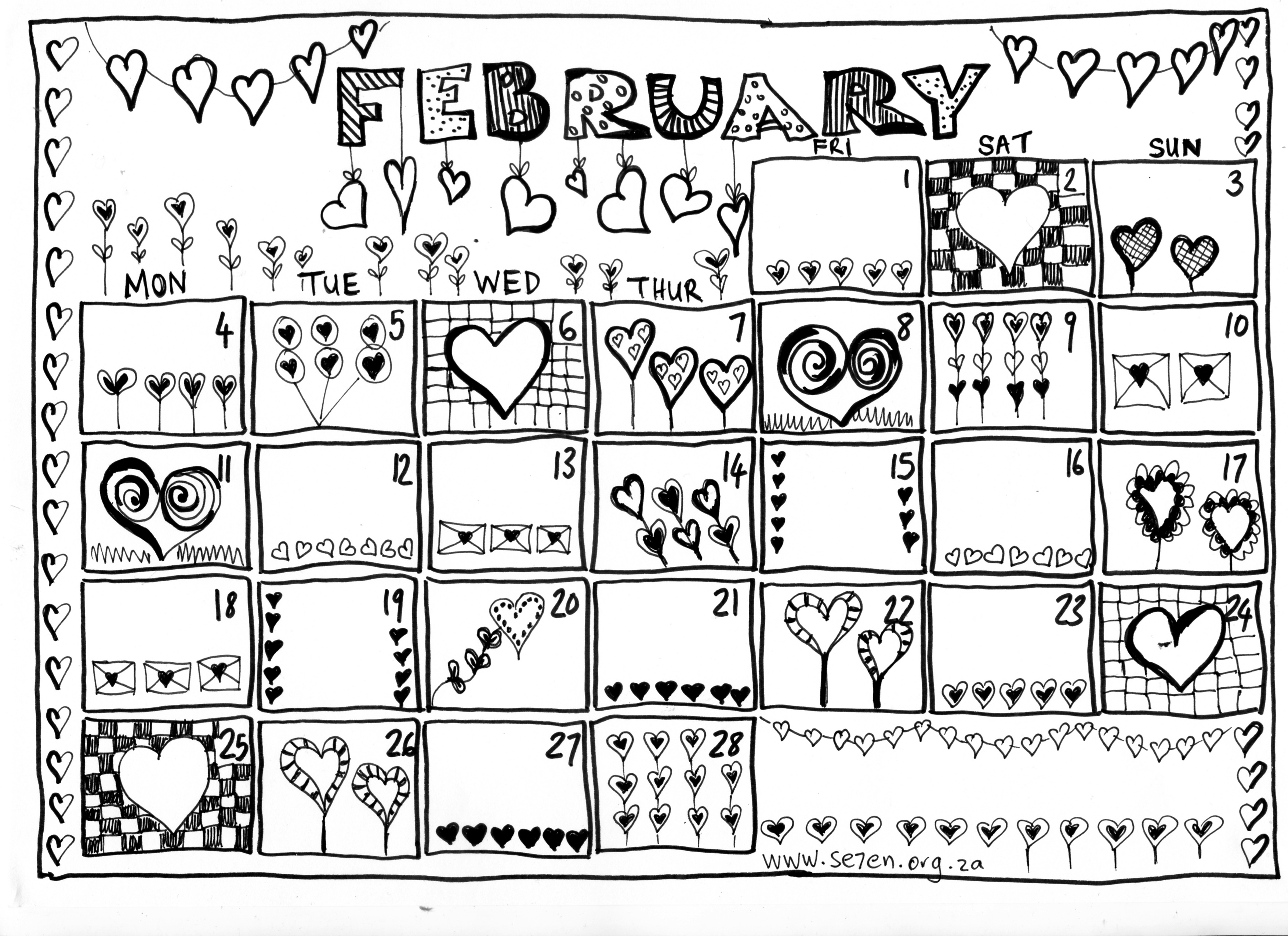 Se7en S February And A Your Free Printable Calendar Se7en