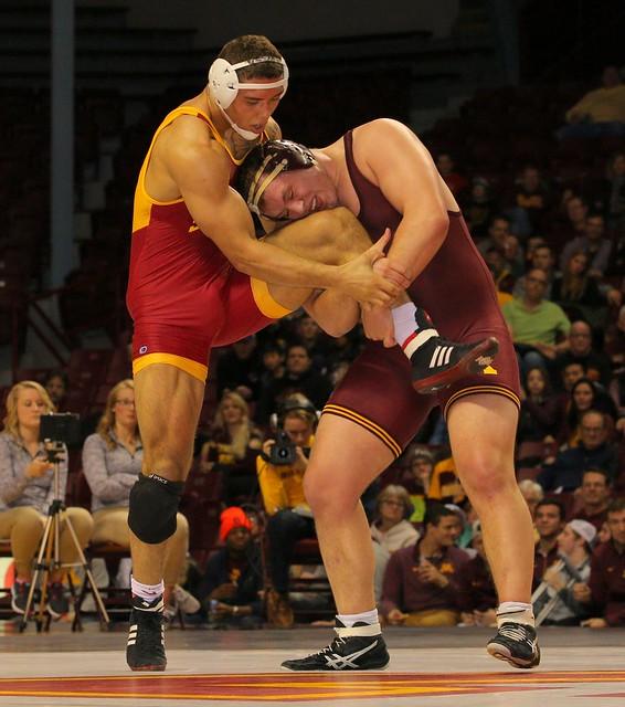 285 - #9 Michael Kroells (Minnesota) tech fall Marcus Harrington (Iowa State) 15-0 6:09. Photo by Mark Beshey.