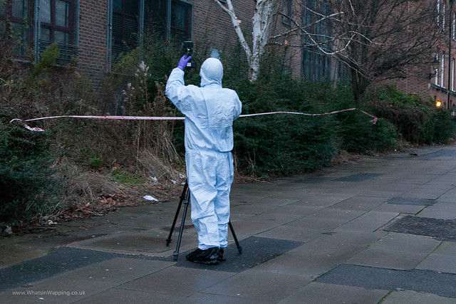 csi in wapping london Forensics photograph the bushes at the north end of Wapping Woods where the woman was attacked