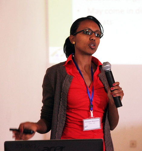 Fanos Mekonnen makes a speech on  Knowledge Management, communications, and e-extension