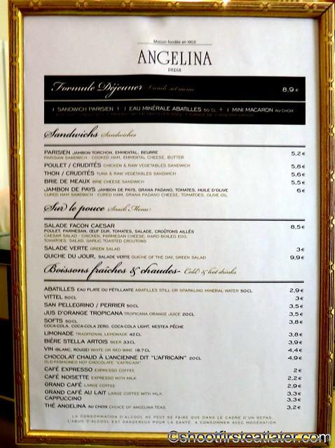 Angelina at Versailles menu