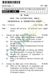 UPTU B.Tech Question Papers - FT-803 - Traditional & Fermented Foods