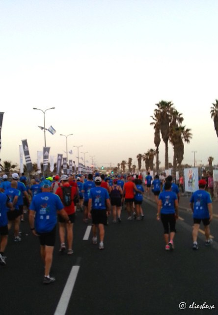 Lining up the morning of the Tel Aviv marathon 2013