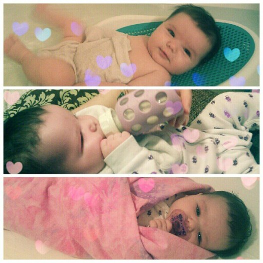 Gwen's bedtime ritual: bath-bottle-bed