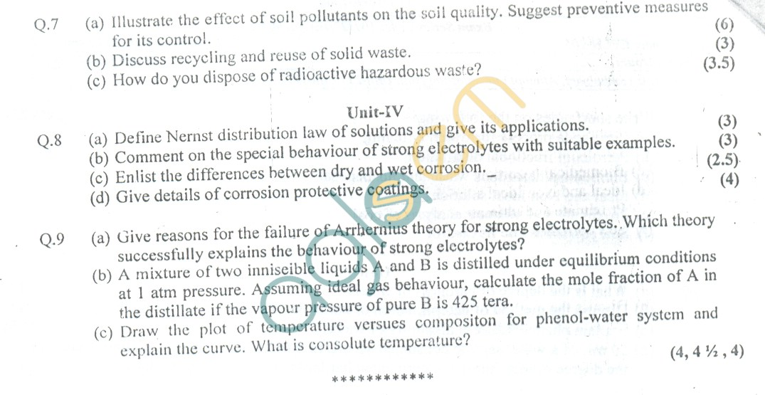 GGSIPU: Question Papers First Semester – end Term 2006 – ETCH-105