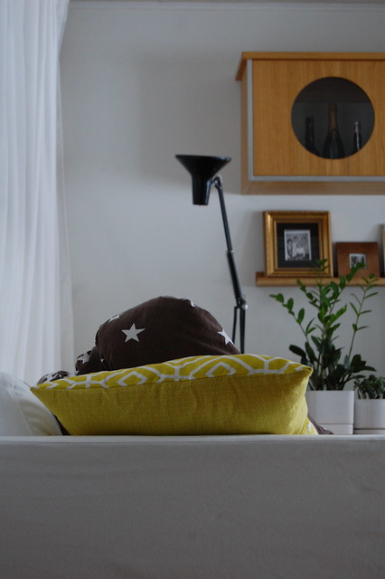 Yellow cushion and homemade cover with reused fabrics