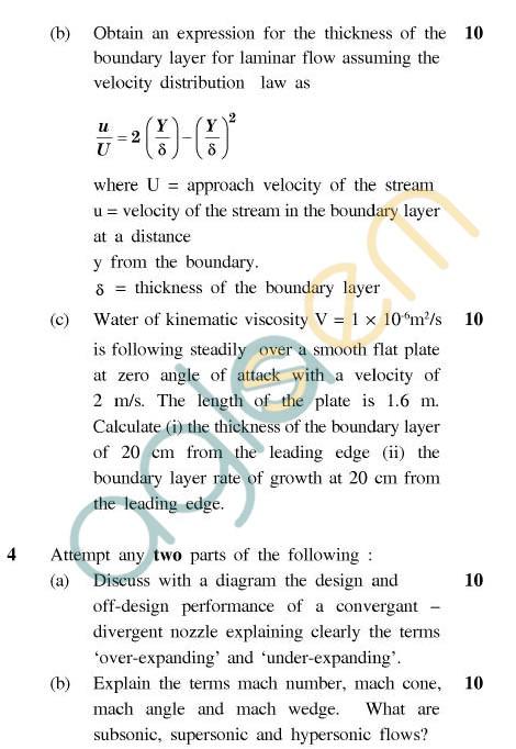 UPTU: B.Tech Question Papers - ME-022 - Advanced Fluid Mechanics