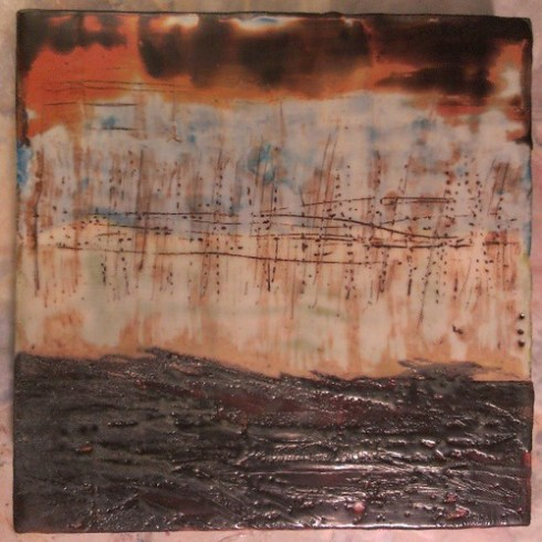 Memory recall #encaustic #painting #ced2013 #accretion