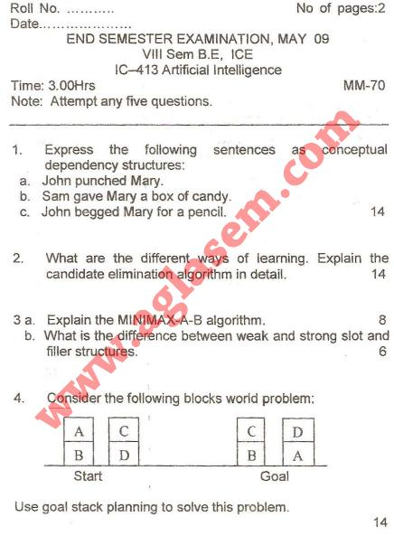 NSIT: Question Papers 2009 – 8 Semester - End Sem - IC-413