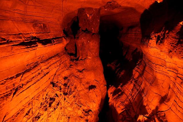 a stone pillar inside the Belum Caves
