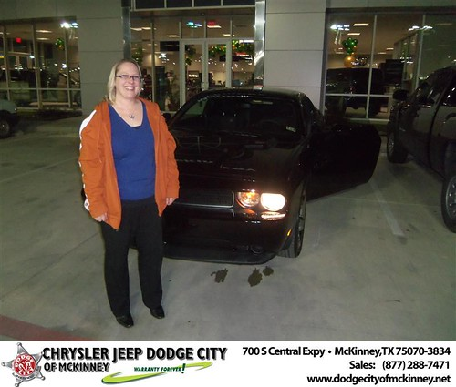 Congratulations to Julie Payne on the 2013 Dodge Challenger by Dodge City McKinney Texas
