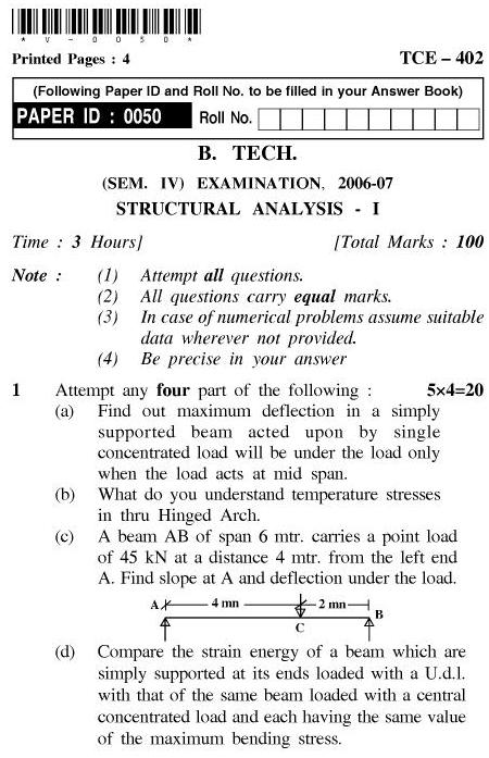 UPTU B.Tech Question Papers - TCE-402-Structural Analysis – I