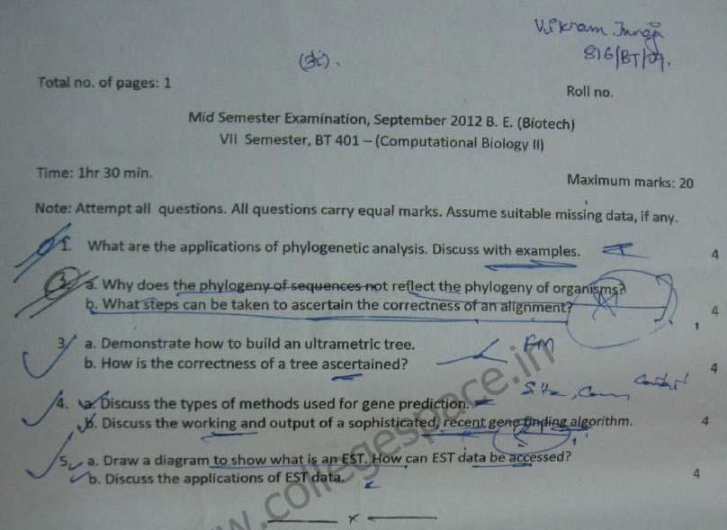 NSIT Question Papers 2012 – 7 Semester - Mid Sem - BT-401
