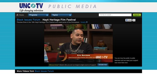 Eric Barstow on UNC-TV's Black Issues Forum, a PBS-station in the Triangle, NC