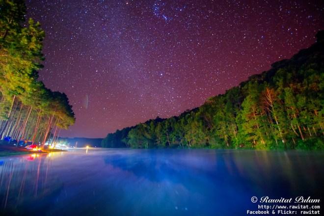 Misty Lake in Starry Night