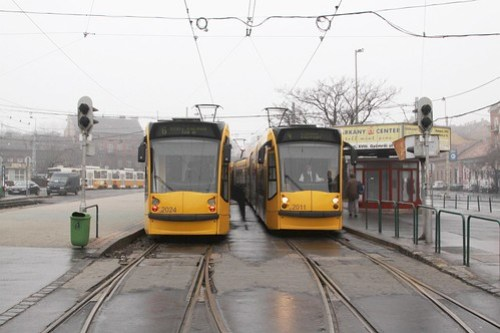 Trams #2024 and #2011 at the route 4/6 terminus