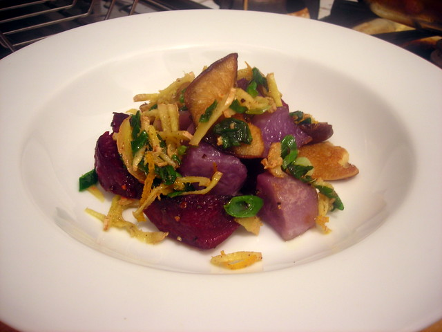 Adirondack blue potato and beet salad, with shiitake mushrooms and scallion-ginger relish