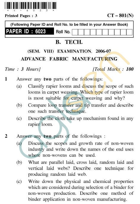 UPTU B.Tech Question Papers - CT-801(N) - Advance Fabric Manufacturing