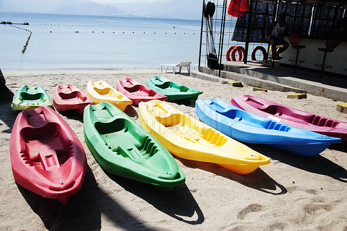 Rubber boats available for kayaking.