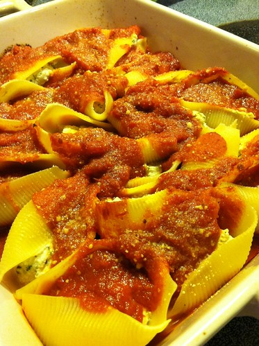 Vegan stuffed shells with homemade ricotta