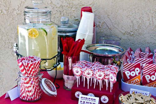 paper straws, lemonade, iced tea, red vines, cherry lollipops, popcorn