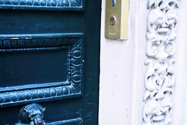 blue door close up paris