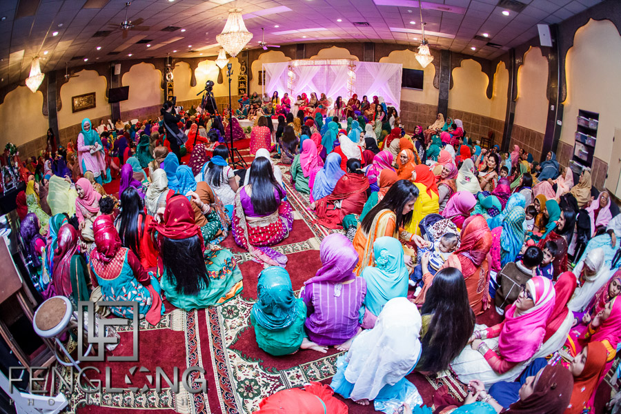 Guests on women's side of Indian wedding Nikkah ceremony