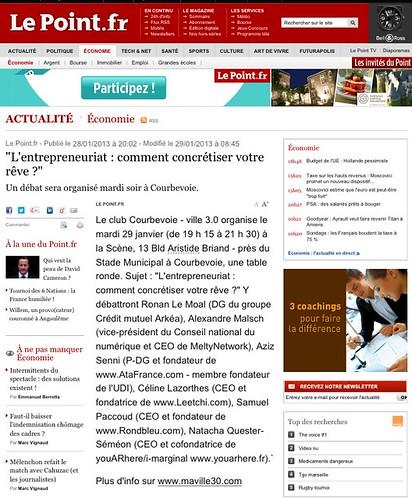 """Le Point (""""L'entrepreneuriat, comment concrétiser votre rêve ?""""). Organisé par le Club """"Courbevoie 3.0"""" (fondé par Arash Derambarsh) by Arash Derambarsh"""