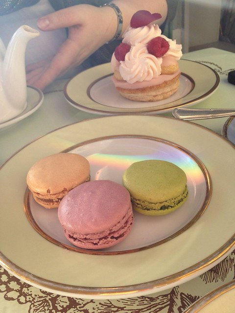 St. Honore Rose Framboise pastry and macarons (green apple, salted caramel and violet marshmallow)