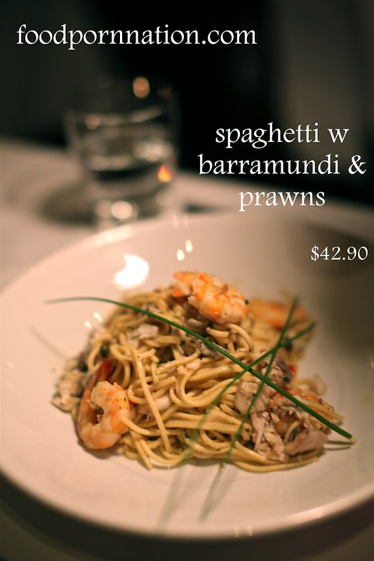 spaghetti w barramundi & prawns