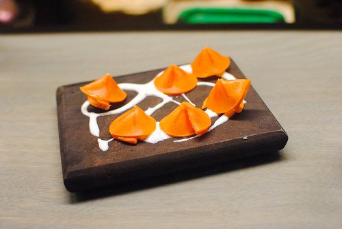 fuyu persimmon with caraway cream