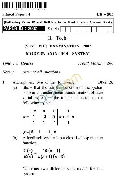 UPTU B.Tech Question Papers - EE-803-Modern Control System