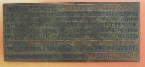 John Andrew Malcolmson Plaque,  North Riding Infirmary