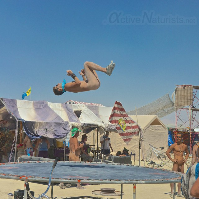 naturist trampoline 0071 Burning Man 2012, Black Rock City, NV, USA
