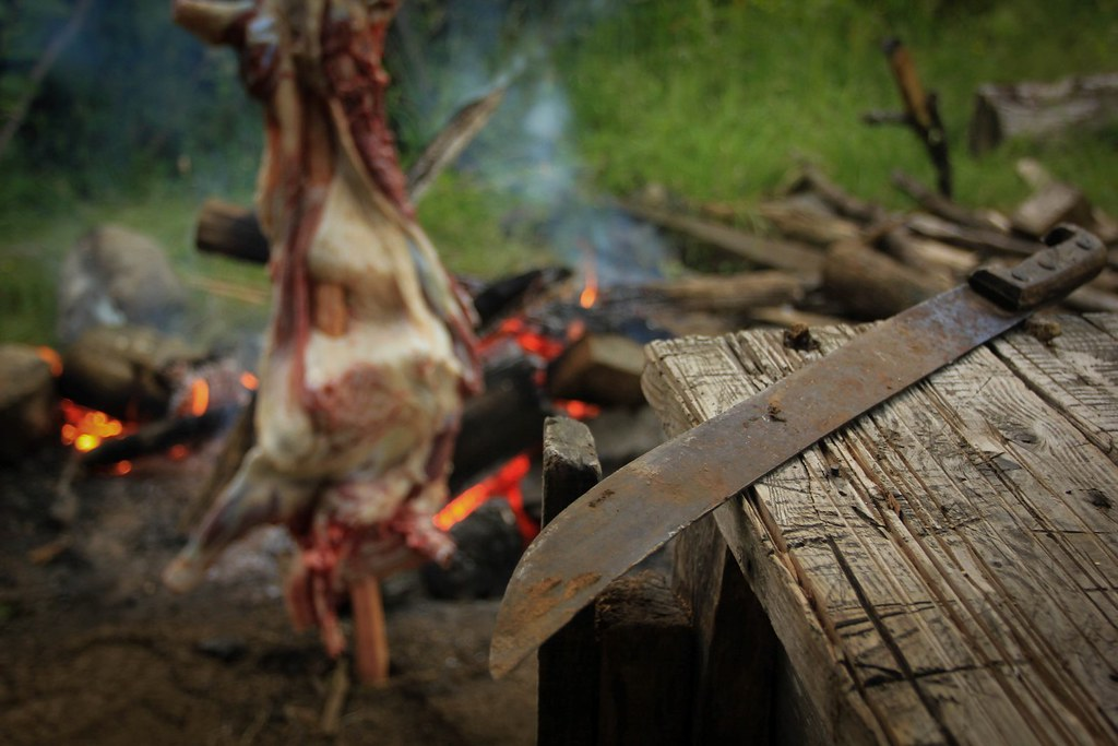 Asado de Cordero. Roasted lamb. Summarizes the Patagonian kitchen. Rincon Bonito. Chilean Patagonia.