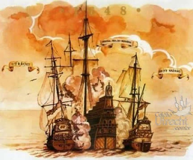 Dutch Galleons attacking Spanish Treasure Galleon